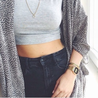 grey cardigan grey crop top grey top crop tops high waisted jeans black jeans