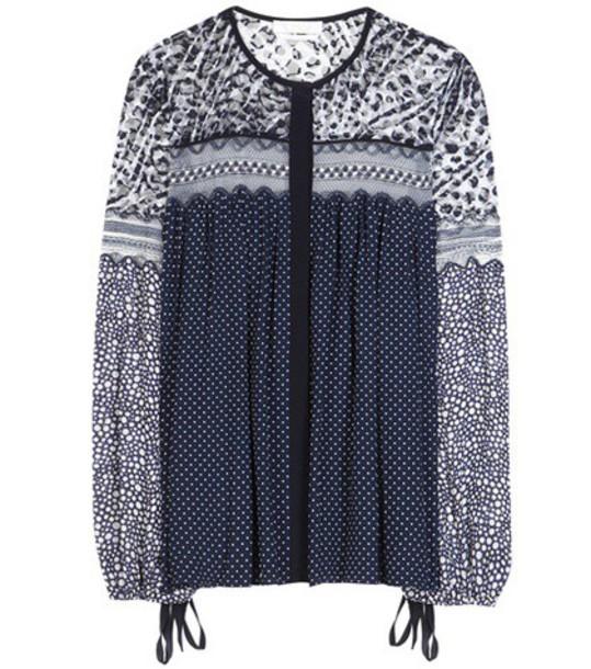 Chloe blouse silk blue top