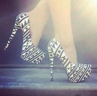 shoes aztec geometric black and white high heels pumps