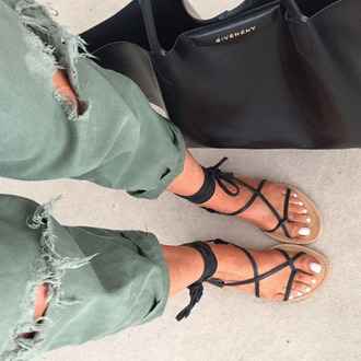 jeans olive sandals tumblr boyfriend jeans ripped givenchy ripped jeans shoes lace up strappy flats black summer basic basics black sandals boho