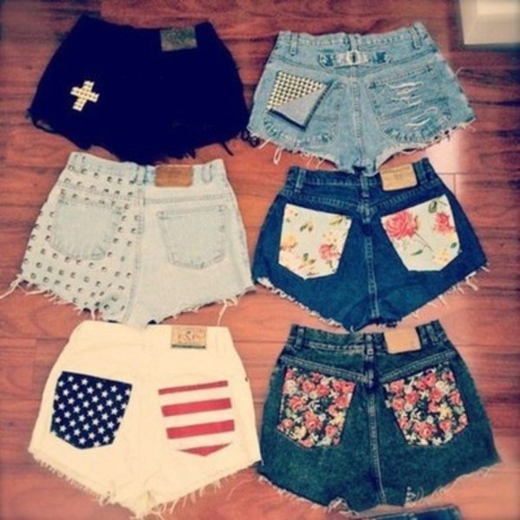 shorts denim studs distressed cross american design floral design clothes vintage style nice grunge summer jeans flowery po cute shorts crosses studded american flag shorts flowery american flag black flowers white nails stud tumblr floral denim shorts studded shorts