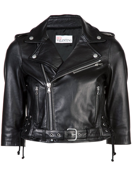 RED VALENTINO jacket cropped women cotton black