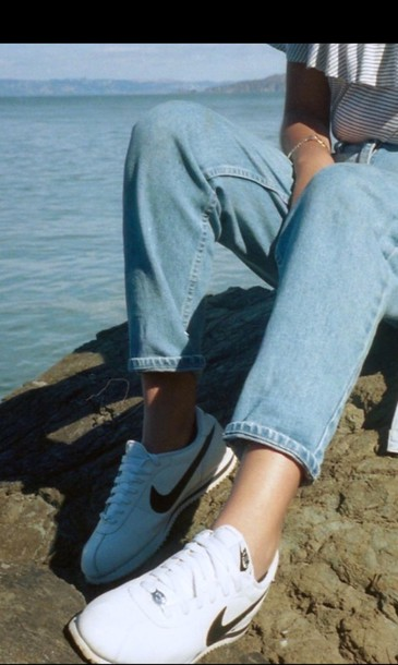 premium selection 76320 e3901 shoes hipster jeans denim nike nike cortez sneakers trendy nike sneakers