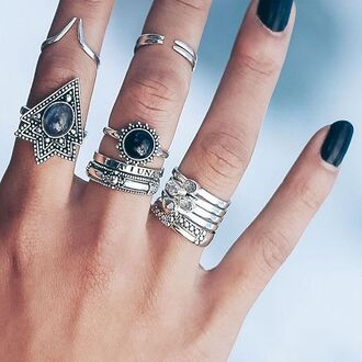 jewels shop dixi gypsy boho bohemian hippie grunge jewelery jewelry sterling silver onyx ring midirings aboveknucklerings statement ring