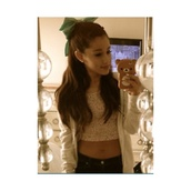 top,ariana grande,american apparel,hair bow,crop tops