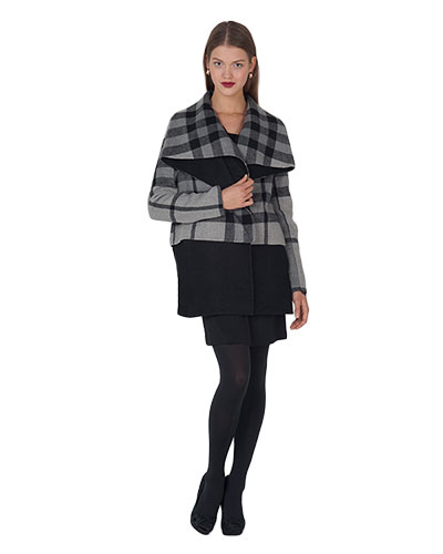 Molly 61449 Shawl Collar Plaid Coat by Badgley Mischka