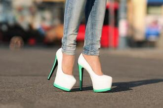 high heels shoes white heels white neon heels hot terqouise stelleto tiffany blue white and turquoise