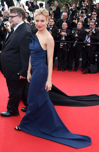 dress gown red carpet dress one shoulder prom dress sienna miller navy cannes