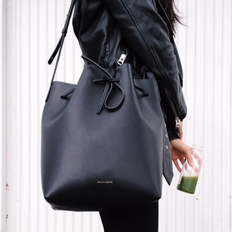 bag black bucket bag classy sack crossbody bag michael kors fashion fall outfits black bag leather leather bag backpack