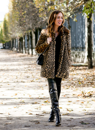 sydne summer's fashion reviews & style tips blogger coat sweater bag jewels leggings shoes animal print winter coat crossbody bag black bag over the knee boots black boots