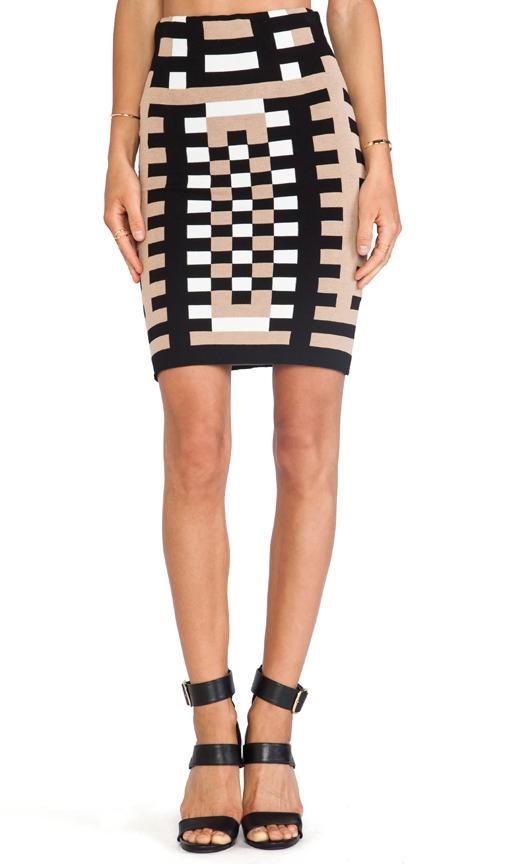 Rvn mondrian jacquard 3/4 length sheath skirt in tan& black & white from revolveclothing.com