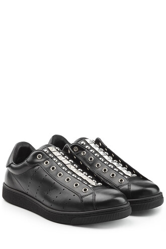 sneakers. studs sneakers leather black shoes