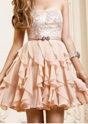 Line chiffon ruffles sweetheart short prom dress