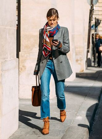 jeans cropped jeans blue jeans blazer grey blazer boho dress boots brown boots bag scarf