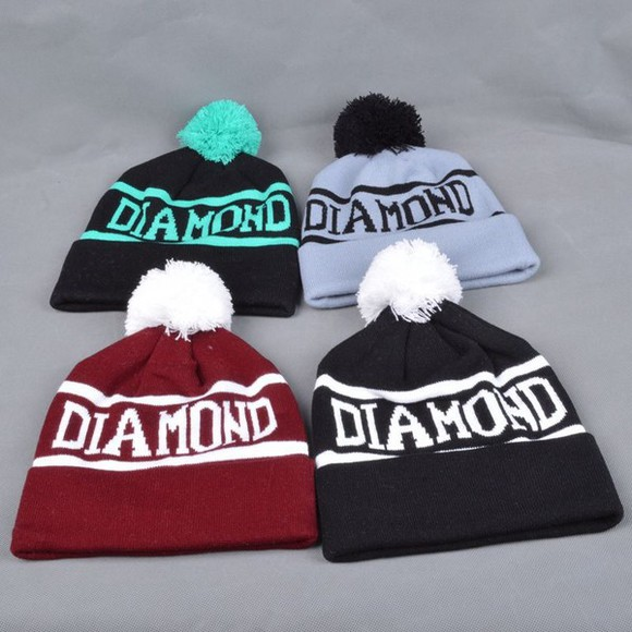 hat white beanie diamond diamond supply co puff mint green grey burgandy