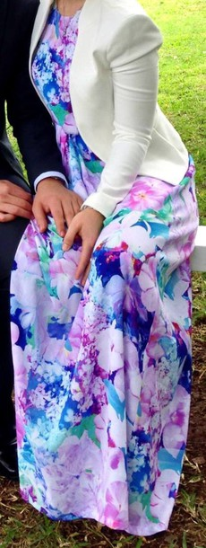 dress maxi dress formal floral blue pink violet white floral maxi dress