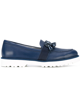 women embellished loafers leather blue shoes