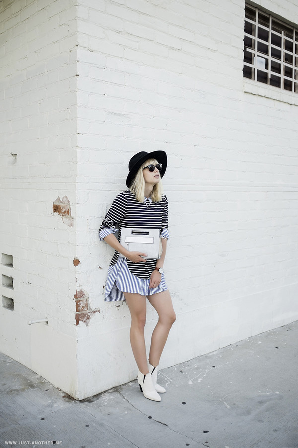 just another me blogger blouse top bag jewels sunglasses felt hat
