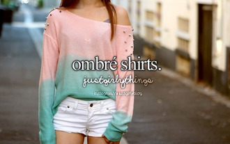 sweater ombre sweater ombre shirt ombré shirt pink blue clothes pullover