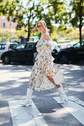 bag,boots,white boots,dressf,floral,floral dress,dress,ring bag,white bag