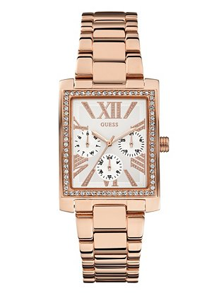 Tone poised and polished sparkle watch at guess