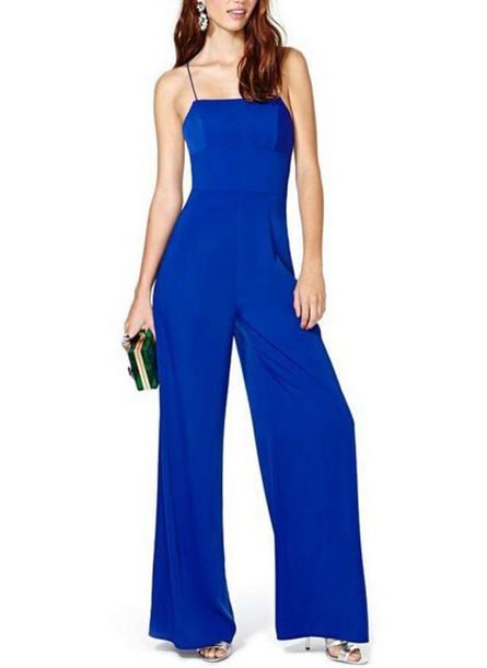 Jumpsuit Blue Royal Blue Empire Waist Open Back Wide Leg Pants