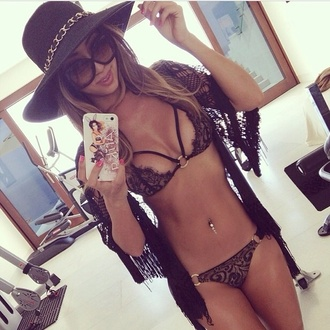 swimwear lace lace bikini cute black summer gold black bikini style fashion bikini bikini top bikini bottoms black lace underwear