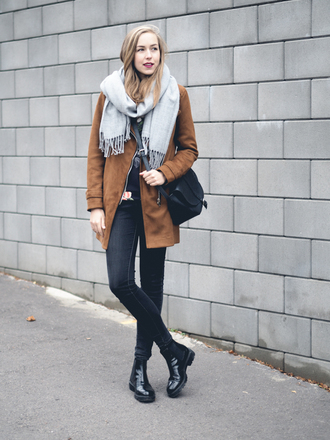 a cup of style blogger jacket sweater scarf bag jeans shoes