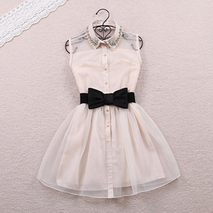 Free shipping 2013 new arrival fashion pearl diamond small lapel gauze waist tutu one piece dress 2 color 2 size hot sell d392-in Dresses from Apparel & Accessories on Aliexpress.com