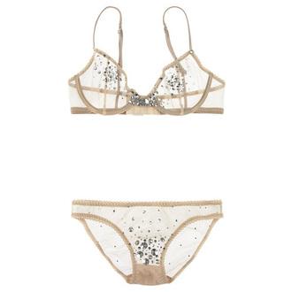 underwear lingerie lingerie set mesh bra nude crystal rhinestones embellished valentines day gift idea valentines day