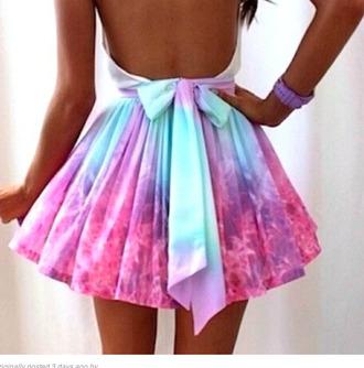 skirt galaxy print pink blue bows beautyful