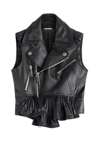 vest ruffle leather black jacket