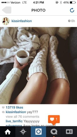 socks knitwear cozy knee high socks beige