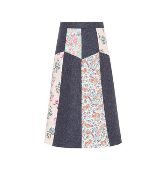 REDValentino Floral-printed wool skirt