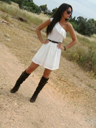 dress white one shoulder high boot boots country shoes belt