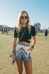 shorts,coachella,festival,boho,bohemian,aztec,tribal pattern,ethnic,hippie,summer,chic,pattern,blue,white,sunglasses,sunnies,glasses,music festival,shirt