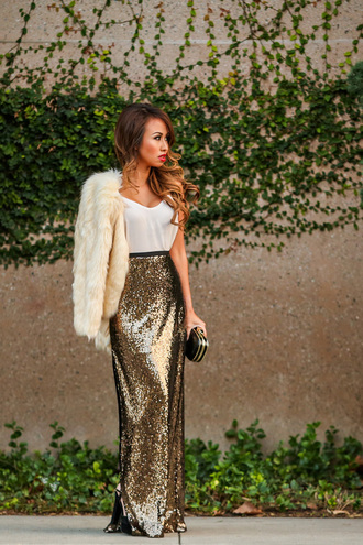 lace and locks blogger tank top gold sequins faux fur jacket party outfits new year's eve make-up skirt jacket bag white fur jacket beige fur jacket