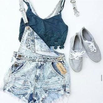 romper clothes dungarees shoes top denim jeans bleu grey jumpsuit
