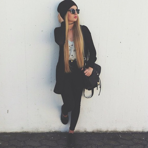 cap jeans sunglasses black bikini black outfit bag top jacket shoes black