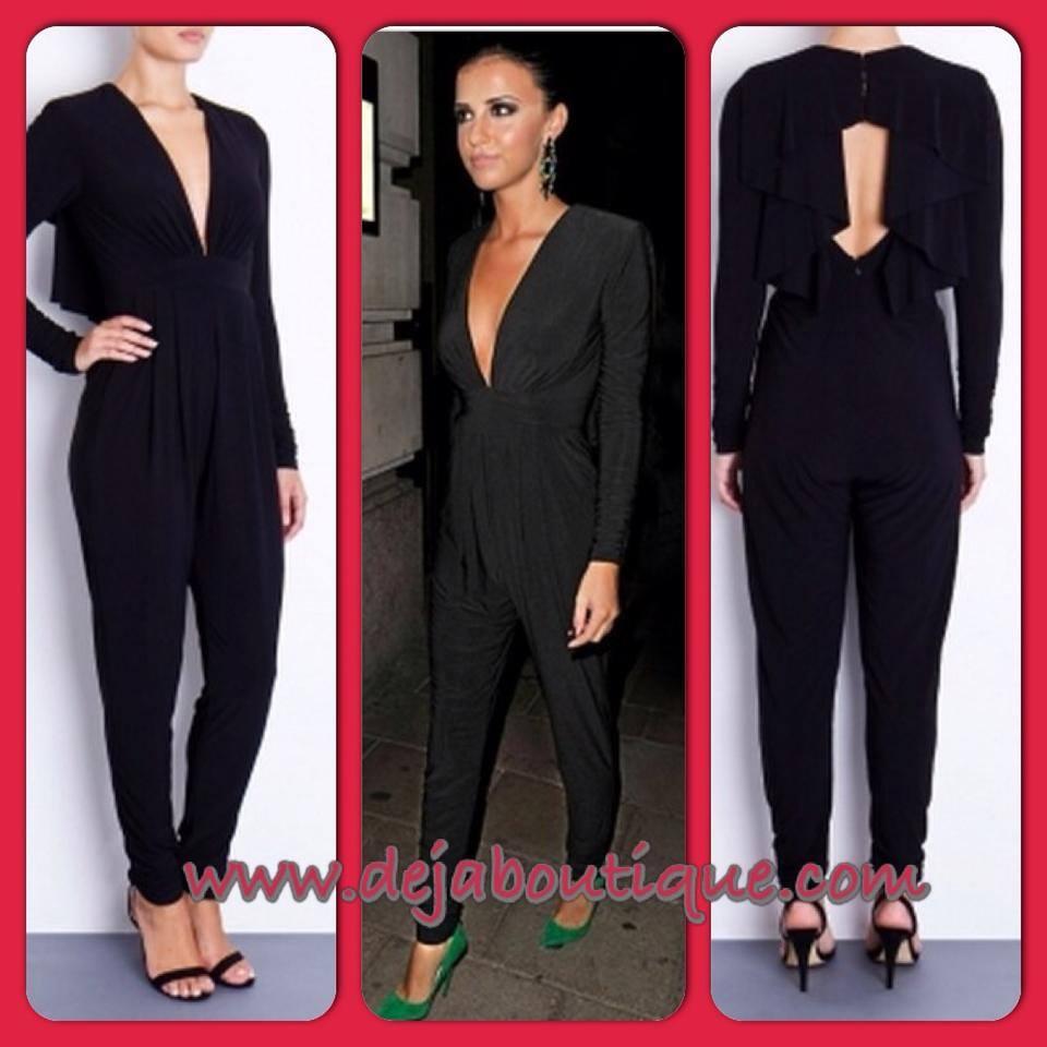 Deja Boutique. Waterfall black jumpsuit - small 8-10