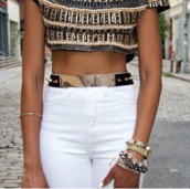 t-shirt,shirt,top,sequins,gold,white,pants,summer outfits,sexy,girly