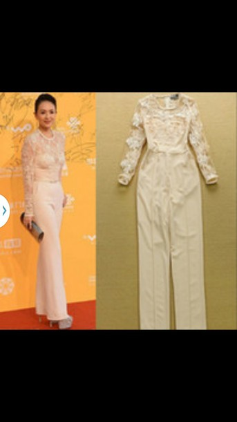 jumpsuit cream embroidered