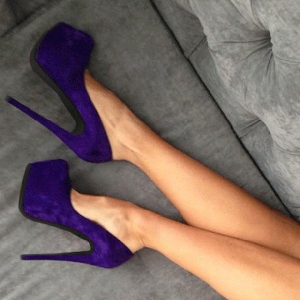shoes velvet heels velvet violet high heels plateau blogger sky heels beautiful