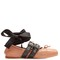 Buckle-fastening leather ballet flats