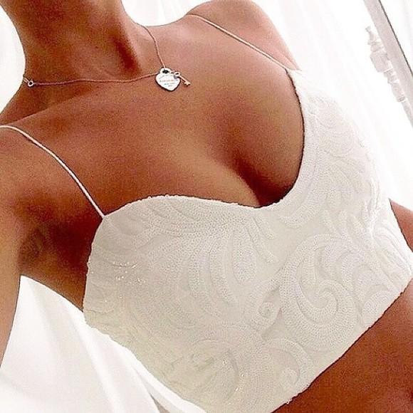 top designer keychain necklace classy beautfiul white bralette