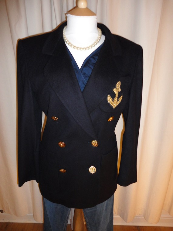 Escada military luxury nautical boyfriend blazer by marionvintage