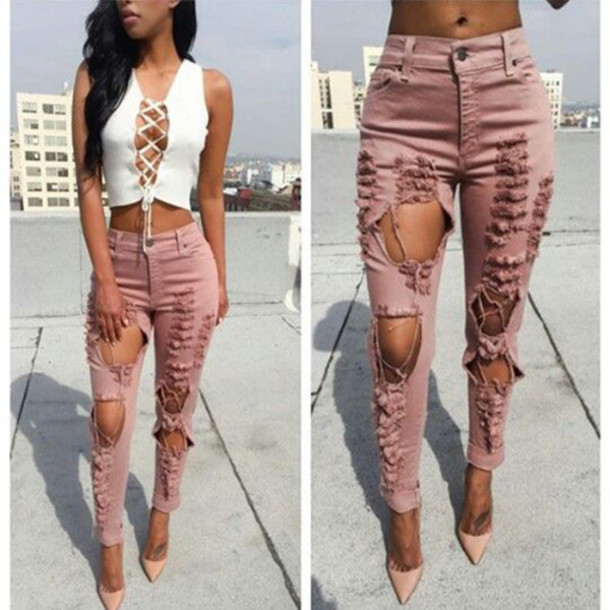 Pants pink ripped jeans tumblr top white dress lace ...