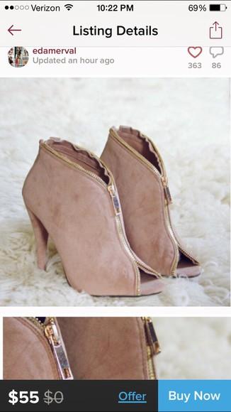 zipper suade high heels peep toe boots