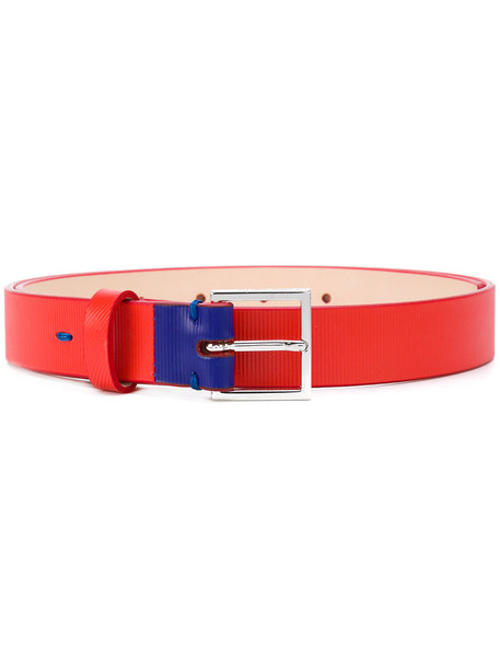 Ps By Paul Smith - square buckle belt - women - Leather - 80, Yellow/Orange, Leather
