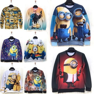 sweater sweatshirt minions multicolor printed sweater
